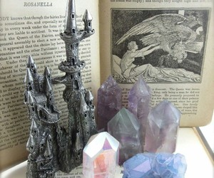 book, castle, and gems image