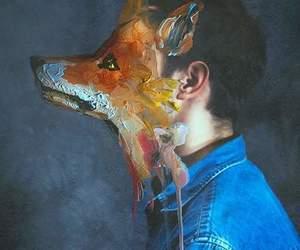 art, fox, and boy image