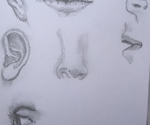 art, sketching, and facial features image