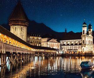 bridge, city lights, and reflection image