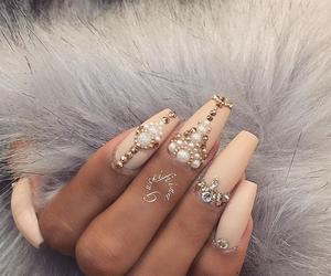 nails, nail art, and pearls image