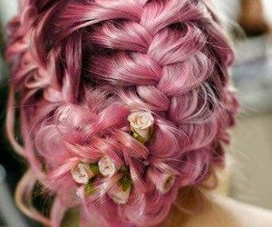 flowers, trenza, and hair image