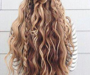 blond, trenza, and hair image