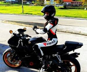 girl, motorbike, and black image