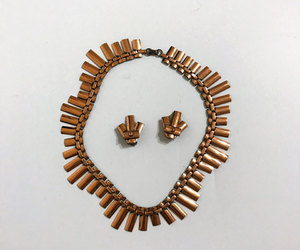 v2, copper earrings, and geometric necklace image