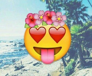emoji, wallpaper, and beach image
