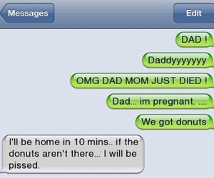 funny, dad, and donuts image