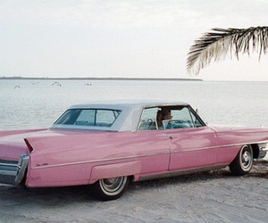 car, pink, and beach image