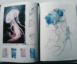 jellyfish, art, and blue image