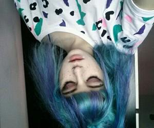 grunge, blue hair, and makeup image