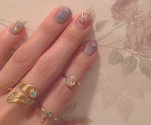floral, glitter, and nails image
