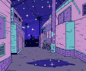 8bit, night, and purple image