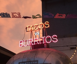 tacos, burrito, and neon image