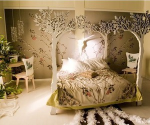 tree, bed, and bedroom image
