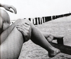 beach, legs, and black and white image