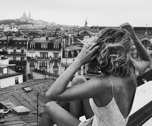 city, girl, and black and white image