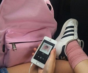spotify and iphone adidas pink music image