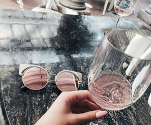 pink, sunglasses, and drink image