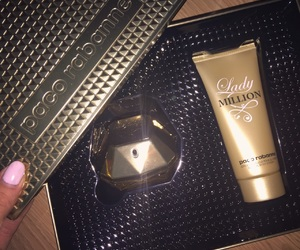 gold, paco rabanne, and lady million image