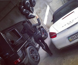 girl, black, and car image