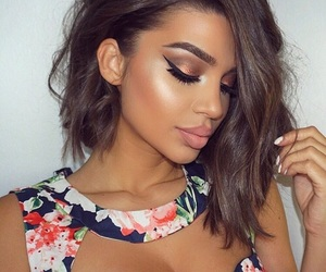 brunette, pretty, and makeup image