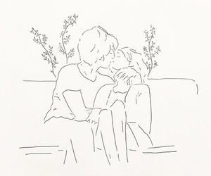 couple, draw, and kiss image