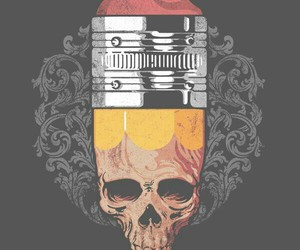 pencil and skull image