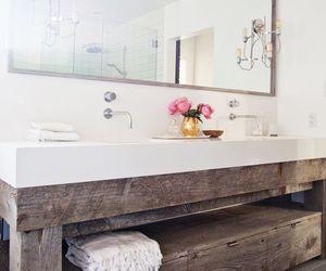 bathroom, interior, and flowers image