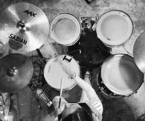 black and white, drummer, and drums image