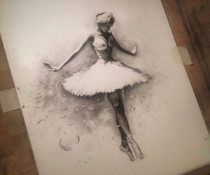 art, ballerina, and black and white image