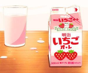 anime, strawberry, and milk image
