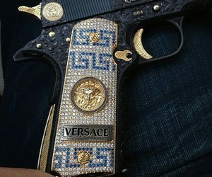 Versace, gun, and gold image