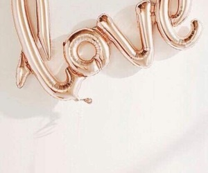love, balloons, and rose gold image