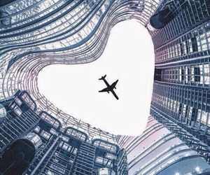 heart, travel, and plane image