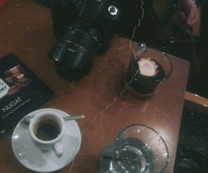 camera, coffee, and jeans image