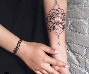 flower, forearm tattoo, and girl image
