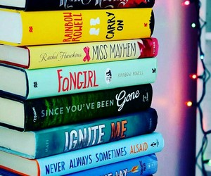 books, lights, and fangirl image