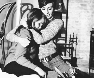 black and white, movie, and hug image