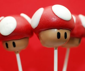 red, cake pop, and toadstool image