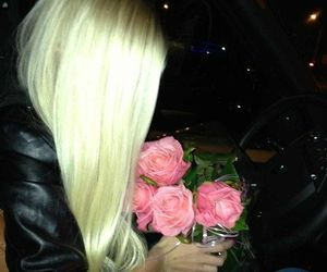 blonde, flowers, and rose image