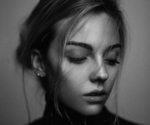 girl, black and white, and face image