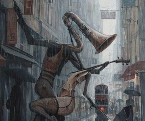 music, rain, and art image