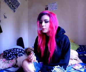 pink hair, site model, and scene image