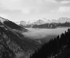 b&w, clouds, and mountains image