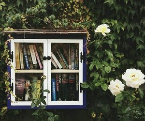 books, flowers, and green image