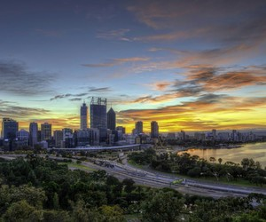 city, places, and sunset image