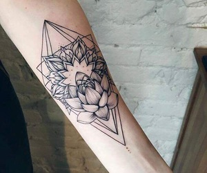 flower, forearm tattoo, and tattoo image