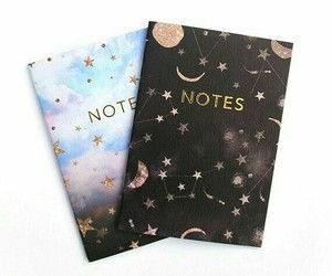 notebook, notes, and stars image