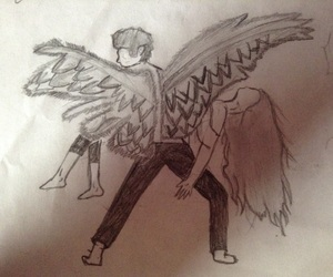 art, drawing, and fallen angel image