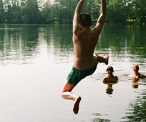 boy, lake, and friends image